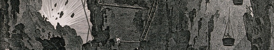 An iron mine and miners working. Detail